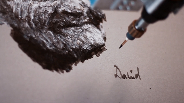 e david robot painting
